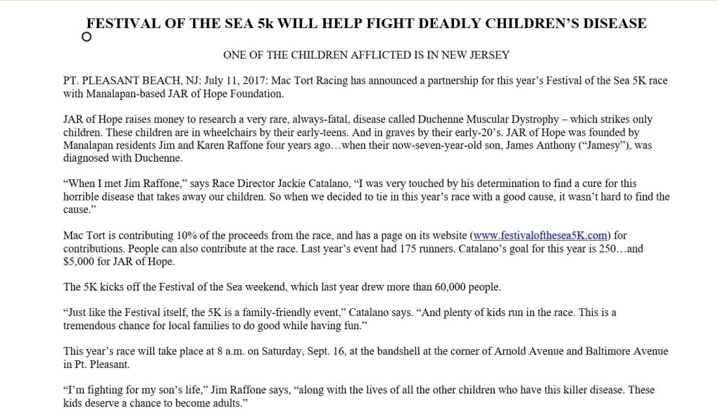 Festival of the Sea 5K Press Release